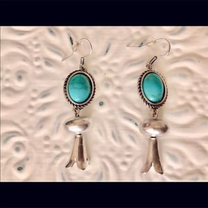 NEW SILVER SQUASH BLOSSOM TURQUOISE EARRIN…